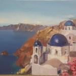 Санторини,Греция-Знакомый пейзаж 30х40 х.м.2016-Елена Жигилевич