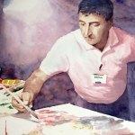 Сергей ГРИГОРЬЕВ Портрет художника 36х48cм-акварель-бумага 2016