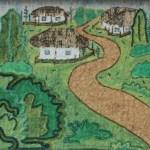Картина-Косик Анастасия, Сельський пейзаж, мозаика бисер,стеклярус, 40х30