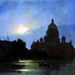 Картины художников-Архип Куинджи - Вид Исаакиевского собора при лунном освещении