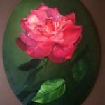 Роза, картон, масло, овальная форма, 30х40, 2018 г. -Анастасия Алёхина