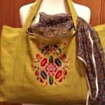 Торбочка, льон, муліне peri, вишивка хрестом із застосуванням канви. 35х50-Катерина Черненко