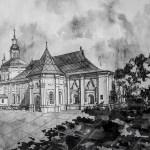 Введенская церковь, бумага, тушь, перо, чёрная ручка, чёрный и белый карандаши,28х40,5, 2018г.-Мария Леоненко