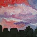 Силуэт города масло, холст, 80х60, 2019 г.-Мария Куцаченко