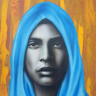 """""""Goddess"""" Airbrush and Acrylics 11"""" x 14"""" Canvas Art by: Anh Pham Art supplies by: usartsupply.com"""