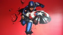 Here is a mural of Captain America that I painted on a Child's bedroom wall. It was created using regular Airbrush paint by USARTSUPPLY.COM on top of house paint from the paint store.