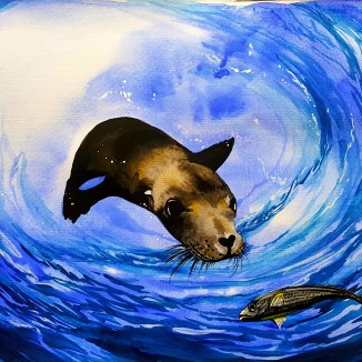 Some Watercolor Painting celebrating the Circle of life in the ocean.