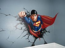 Here is a mural of Superman that I painted on a Child's bedroom wall. It was created using regular Airbrush paint by USARTSUPLLY.COM on top of house paint from the paint store.