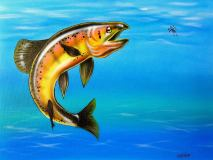 """German Brown Trout"" Airbrush and Paint Markers 11"" x 14"" Canvas pads Art by: Anh Pham Art supplies by: usartsupply.com"