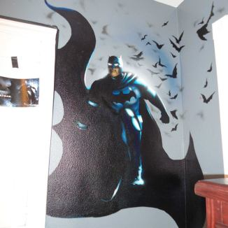 Here is a mural of Batman that I painted on a Child's bedroom wall. It was created using regular Airbrush paint by USARTSUPLLY.COM on top of house paint from the paint store.
