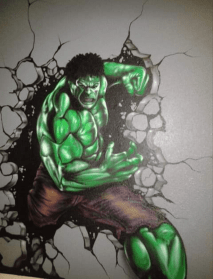 Here is a mural of the Incredible Hulk that I painted on a Child's bedroom wall. It was created using regular Airbrush paint by USARTSUPLLY.COM on top of house paint from the paint store.