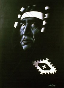"""Apache"" White Airbrush on Black Canvas 20"" x 24"" Canvas Art by: Anh Pham Art supplies by: usartsupply.com"
