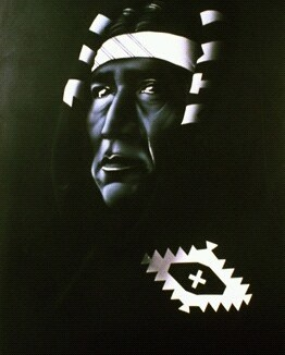 """""""Apache"""" White Airbrush on Black Canvas 20"""" x 24"""" Canvas Art by: Anh Pham Art supplies by: usartsupply.com"""