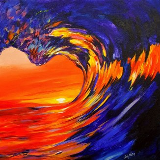 """""""Sunset Barrel"""" Acrylic 24"""" x 24"""" Canvas Art by: Anh Pham Art supplies by: usartsupply.com"""