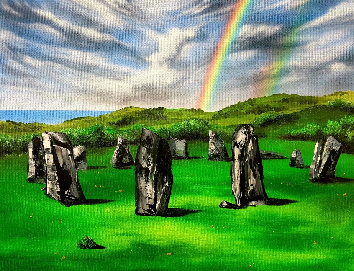 Oil painting over Airbrushed Acrylics -Drombeg Ancient Stone Circle, Ireland