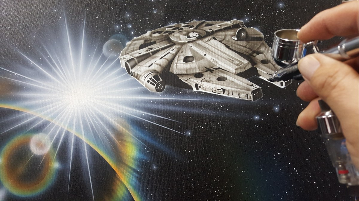 Airbrush Painting the Millennium Falcon