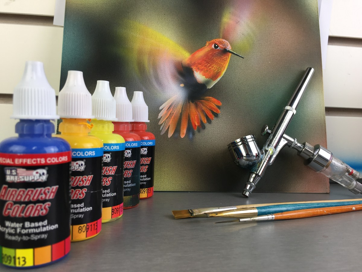 Time Lapse painting of a Hummingbird using the Bokeh technique