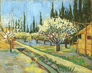 Orchard in Blossom, Bordered by Cypresses -- oil on canvas, 1888 Vincent van Gogh private collection