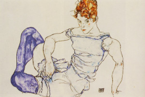 egon-schiele_seated-woman-in-violet-stockings-1917