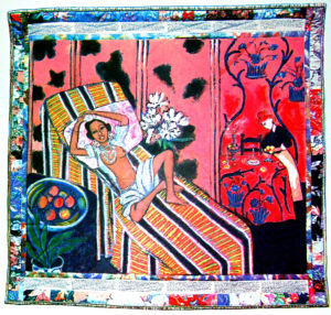 Jo Baker's Birthday (1993), acrylic on canvas with pieced fabric border, 73 x 78 inches by Faith Ringgold