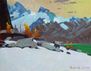 An Aspect Above Lake McArthur (2014) 11 x 14 inches, acrylic on canvas by Robert Genn (1936-2014)