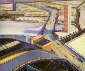 Freeway 289 (1977) 24 x 24 inches, oil on canvas by Wayne Thiebaud