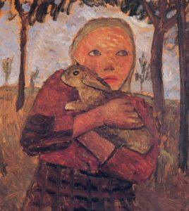 Girl with Rabbit, 1905 by Paula Modersohn-Becker (1876-1907)
