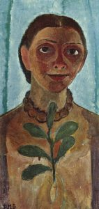The Painter with Camellia Branch (Self Portrait), 1907 by Paula Modersohn-Becker