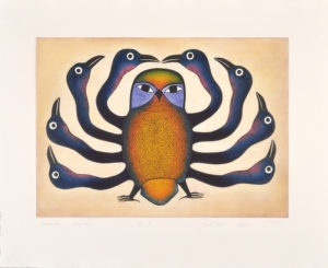 Guardian Owl, 1997 Etching and aquatint 80 x 98 cm by Kenojuak Ashevak