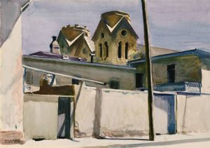 St. Francis' Towers, Santa Fe, 1925 watercolor on paper 13 1/2 x 19 1/2 inches by Edward Hopper