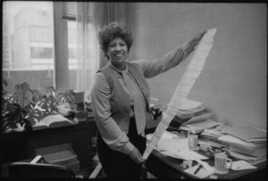 Toni Morrison at her desk at Random House, c. 1980 Jill Krementz photo