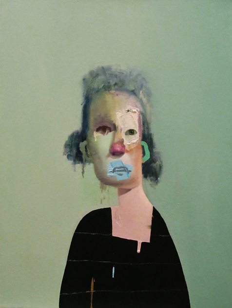 ed valentine untitled portrait with four green stripes and green painted ear 2014 oil on canvas 18 x 24 inches
