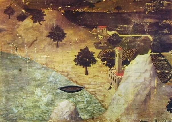 12 Ambrogio Lorenzetti - Un castello in riva ad un lago
