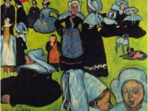 5Breton Women in the Meadow. Émile Bernard, 1888 oil on canvas 36.6 × 29.1 in