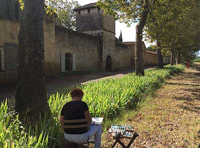 learn to paint in France at a wine domaine