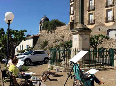 painting en plein air on our painting holidays 2020