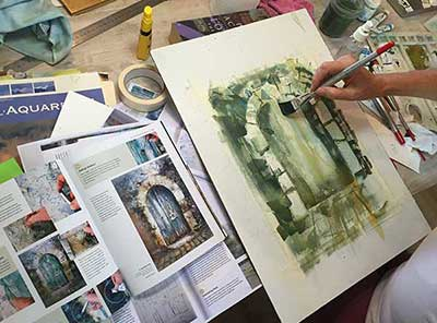 learn to paint in France in our studio in Pouzolles