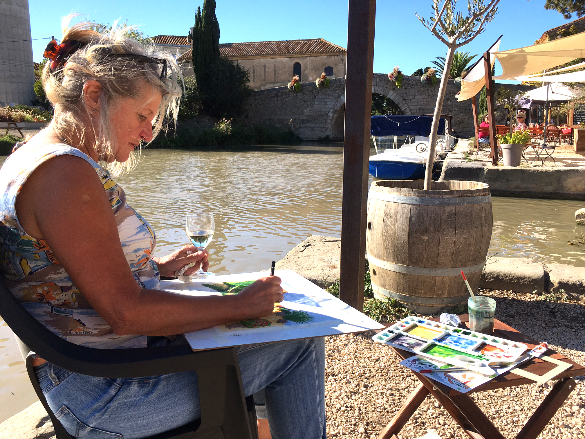 canal du midi painting holiday france