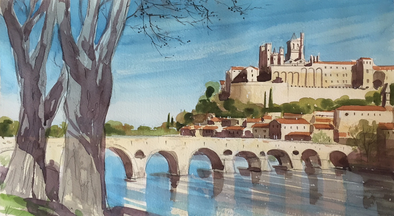 painting in france - the old bridge beziers