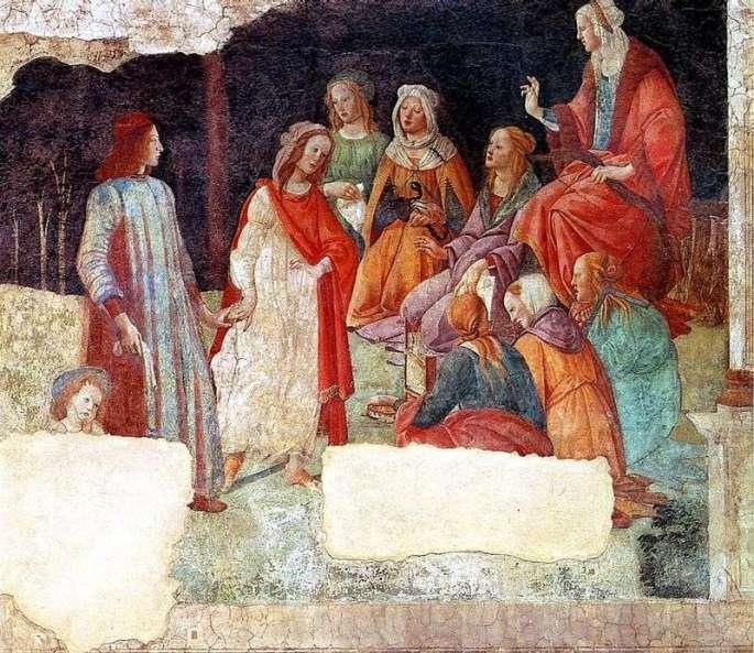 Fresco of Villa Macherly. Lorenzo Tornabuoni and the Free Arts by Sandro Botticelli