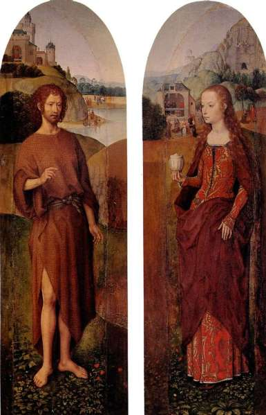 St. John the Baptist and St. Mary Magdalene. Triptych Side Sash by Hans  Memling ❤️ - Memling Hans
