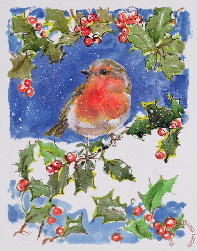 Diane Matthes Christmas Robin Painting Christmas Robin