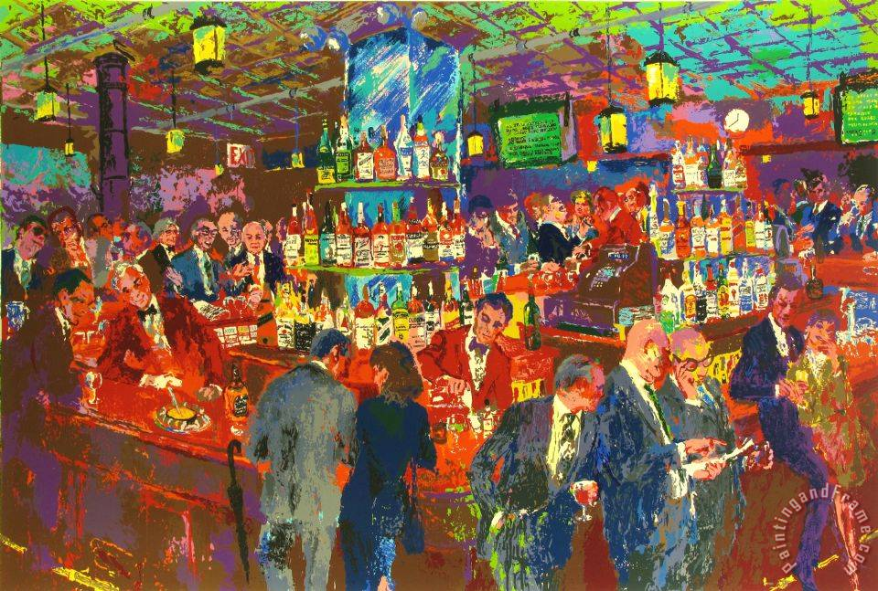Leroy Neiman Harrys Wall Street Bar Painting Harrys Wall Street Bar Print For Sale