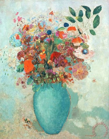 Odilon Redon Flowers In A Turquoise Vase painting   Flowers In A     Flowers In A Turquoise Vase painting   Odilon Redon Flowers In A Turquoise  Vase Art Print
