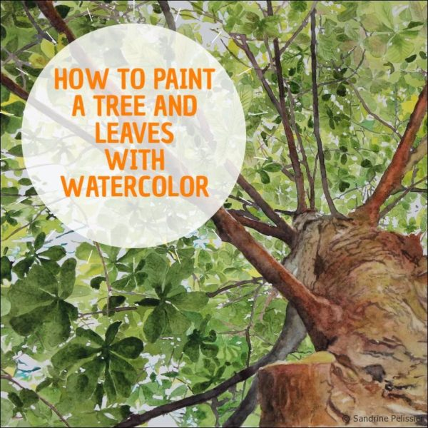 How to paint a tree and leaves with watercolor, a step by step tutorial: Leaves Lace