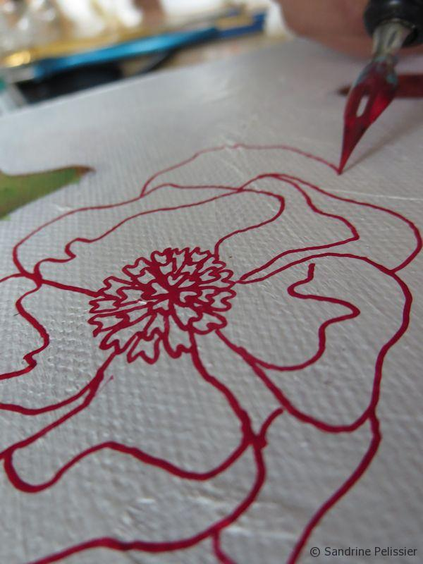 Drawing a peony with pen and ink
