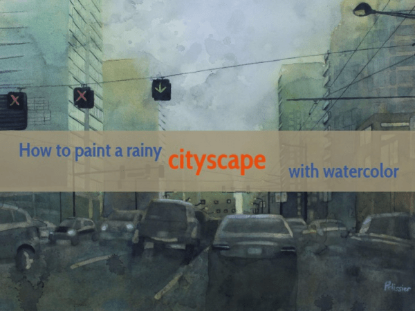Painting a rainy cityscape with watercolors on paintingdemos.com