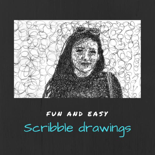 Scribbles drawings on artiful, painting demos by Sandrine Pelissier