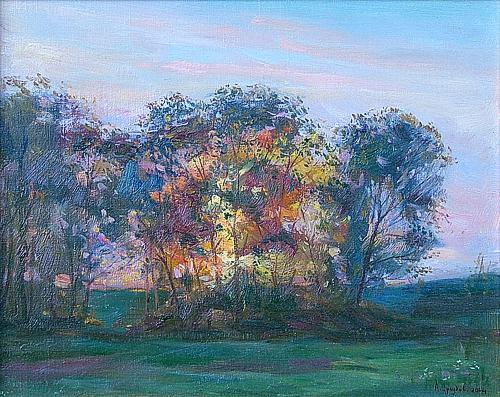 Sunset summer landscape - oil painting