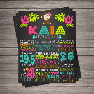 Hula Monkey Birthday Chalkboard Memory Board